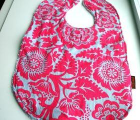 Pink Flambe Baby Bib Large Toddler Bib Flowers