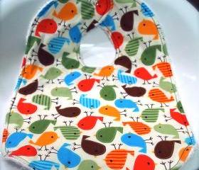 Spring Toddler Baby Bib Bird Bib large Little Birds Bright Colors Unisex
