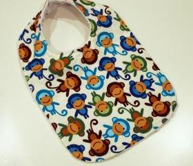 baby bib boys monkey minky cotton snap adorable