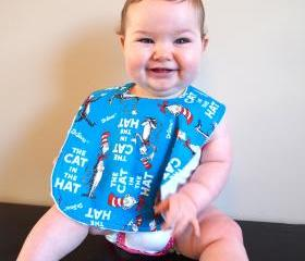 infant bib cat in the hat Minky blue