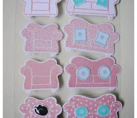 On the couch embellishment for card making / scrapbooking etc