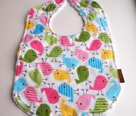 baby bib birds minky bright colorful cotton anne kelle snap newborn bib