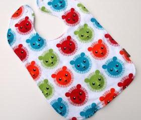 baby bib lion toddler bright tiger summer cotton terry cloth snap