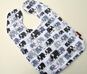 baby bib toddler elephant unisex grey mommy pachyderm summer terry cloth cotton
