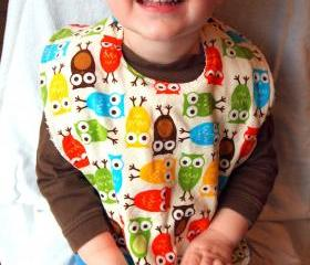 Baby bib toddler owl Corderoy terry cloth snap bright anne kelle