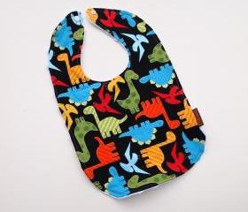 Dinosaur Baby bib boys minky anne kelle cotton black colorful snap