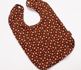 toddler bib stars brown oversize snap large big terry cloth