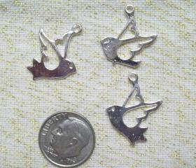Six Silver Bird Charms