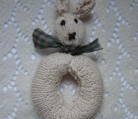 Handmade Knitted Rabbit Baby Rattle