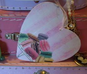 Wooden Heart with macaron design