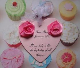 Pink Roses personalised wooden heart