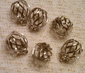 Six Silver Cages Charms