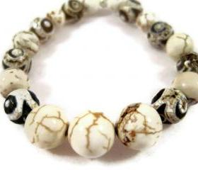 Bracelet, White Turquoise, Tibetan Crackle Agate Gemstone Stretch Bracelet, Adjustable, Nature Inspired, Unisex Jewerly