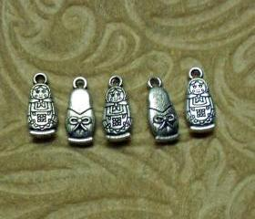 Five Matryoshka 'Stacking Doll' Silver Charms with Two Free Earring Hooks