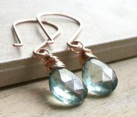 Rose Gold Long Mystic Quartz Drop Earrings
