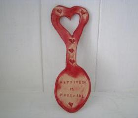 Happiness is Homemade Ceramic Lovespoon. Made in Wales UK, by hand