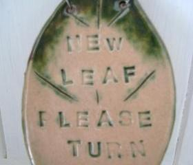New Leaf - Please Turn Over. Strung with wire and vintage buttons. Handmade in Wales, UK