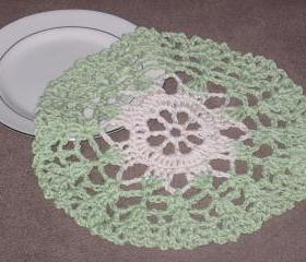 Handmade Decorative Crocheted Round Dishcloth or Doily -Sage/Cream