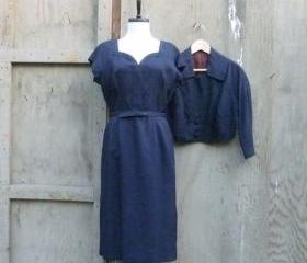 1960s Mad Men Silk Belted Dress and Crop Jacket in Navy Blue