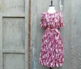1960s Print Belted Midi Dress