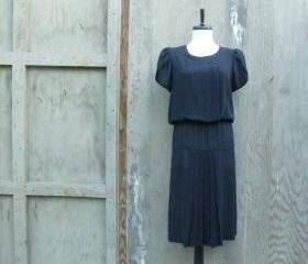 1980s Sheer Black Dress with Tulip Sleeve