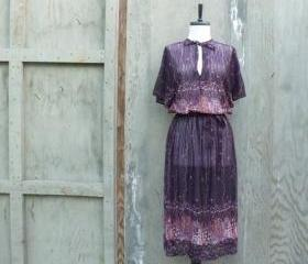 1970s Sheer Boho Belted Dress