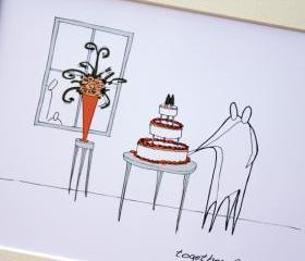 Wedding cake, Anonymity Illustrative print (10' x 12' / 255mm x 305mm)