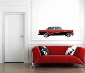 Buick Century Riveria 1955 Red and Black Wall Vinyl Decals