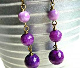 Orchids. Eggplant purple dangle earrings. Gemstone. Brass earrings. Ball end ear wires. Jewelry. Purple earrings. Eggplant, violet, lavender. Purple jewelry.