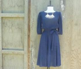 1970s Navy Blue Midi Dress with Pleated Top