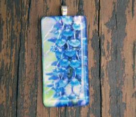 Purple/Blue Flower Pendant on Black Cord 