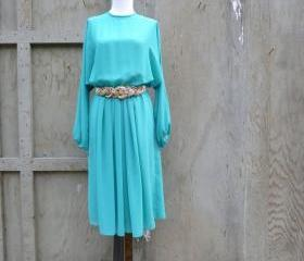 1970s Sheer Dress in Turquoise