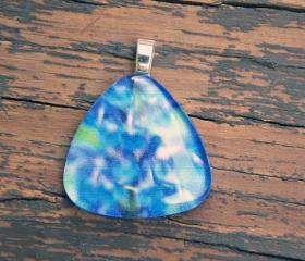 Blurry Purple Flower Pendant on Black Cord 