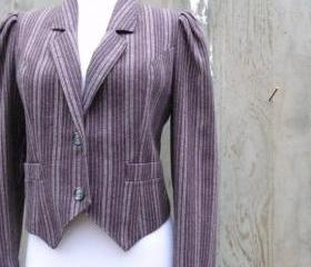 1980s Jacket Striped Cropped