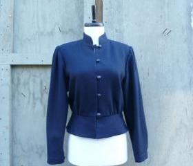 1960s Jacket Black Cropped Mandarin Collar