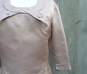 1950s Mad Men Button Back Blouse in Tan