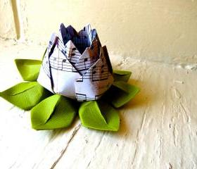 Paper Lotus, Music Sheet and Green, Wedding Decor, Wedding Bouquet, Home Decorations, Event Decorations