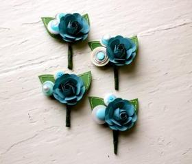 Paper Rose Boutonniere, Grooms Boutonniere, Teal and White