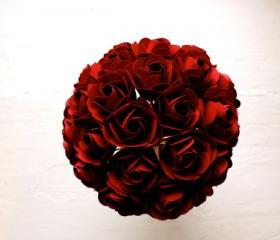 Paper Rose Bouquet, Bridal Bouquet, Red