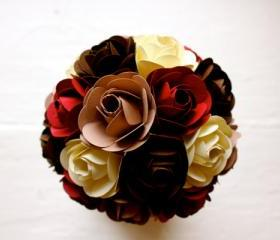 Paper Rose Bouquet, Toss Bouquet, Red, Chocolate, Iced Cocoa and Sugar Cookie