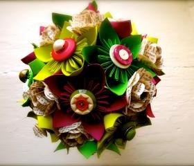 Paper Flower Wedding Bouquet, Green, Fuchsia, Kusudama, Rose