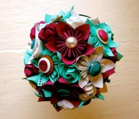 Paper Flower Bouquet, Wedding, Green, Fuchsia, White, Kusudama, Rose