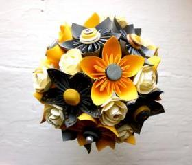 Paper Flower Bouquet, Wedding, Yellow, Grey, White, Kusudama, Rose