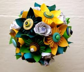 Paper Flower Bouquet, Wedding, Blue, Green, Yellow, Kusudama, Rose