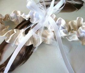 Champagne Bridal Garter in and White Satin Ribbon