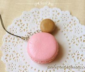 Macaron Keychain - Macaron Phone Charm Bag Charm - Strawberry and Caramel Macaron