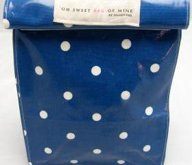 Oilcloth Lunch Bag - Spots - White On Navy Blue