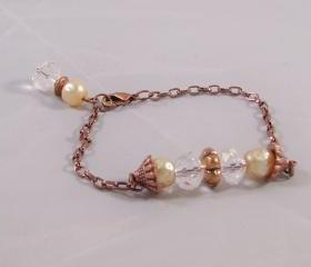 Antiqued Copper & Crystal Bracelet
