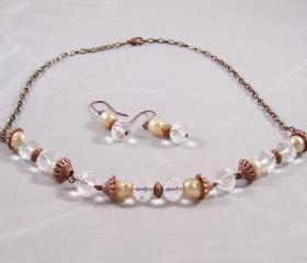 Antiqued Copper & Crystal Necklace Set