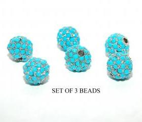 Turquoise Pave Crystal beads 6mm Swarovski Crystal Metal Bead